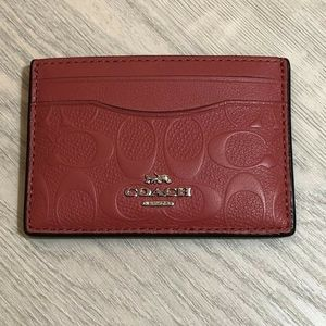 Coach Card Case In signature C Leather Washed Red